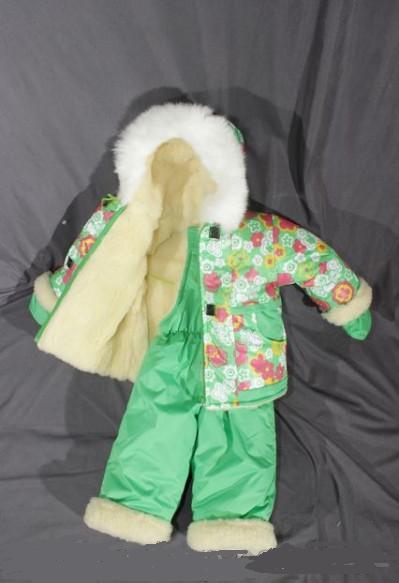 Зимний костюм «Малыш» на сплошном меху (от 6 до 18 месяцев) салатовый в цветочек