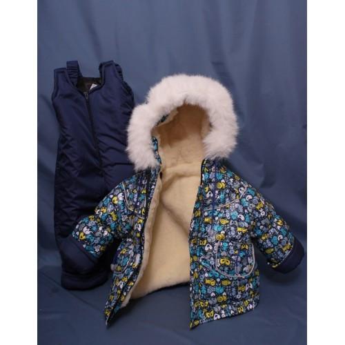 Детский зимний костюм-тройка (конверт+курточка+полукомбинезон) синий принт