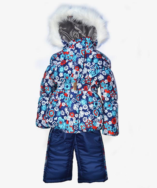 Детский зимний костюм на овчине-подстежке (от 6 до 18 месяцев) синий цветочек