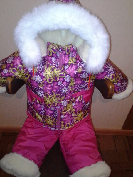 Зимний костюм «Малыш» на сплошном меху (от 6 до 18 месяцев) сиреневая поляна