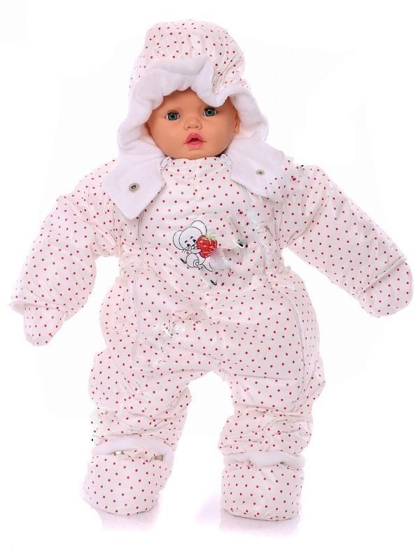 Детский демисезонный комбинезон-трансформер (белый в горошек)