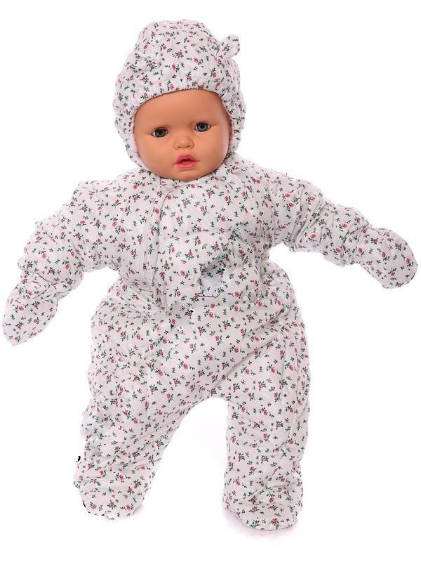 Демисезонный комбинезон для новорожденного человечек (0-6 месяцев) белый цветочек