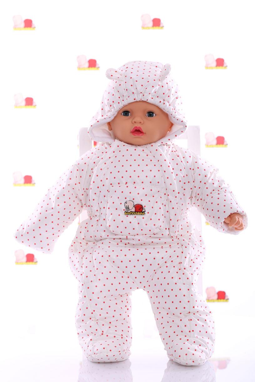 Демисезонный комбинезон для новорожденного человечек (0-6 месяцев) белый в горошек
