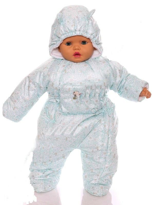 Демисезонный комбинезон для новорожденного человечек (0-6 месяцев) белый лабиринт