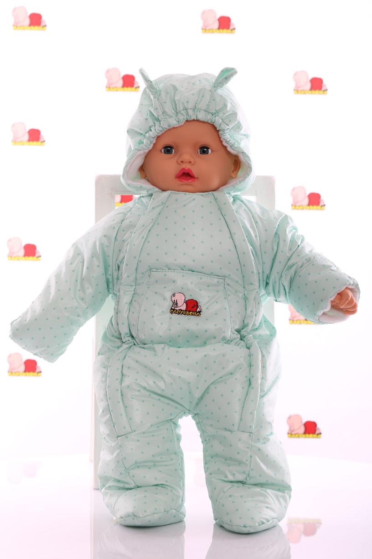 Демисезонный комбинезон для новорожденного человечек (0-6 месяцев) мятный горошек