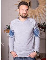 """Мужской свитшот с вышивкой """"Звезда"""" (серый с синей вышивкой), фото 1"""