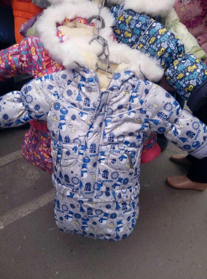 Детский зимний костюм-тройка (конверт+курточка+полукомбинезон) Серые снеговички
