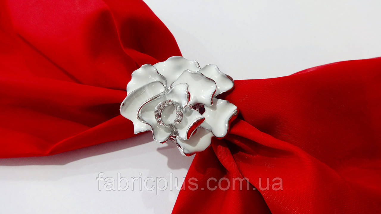 Зажим для платка цветок серебро