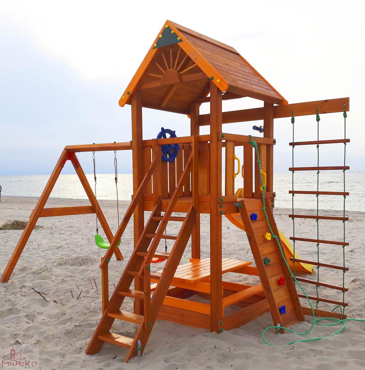 Дитячий майданчик Spielplatz Томас з подвійною гойдалкою, лазом, столик з лавками і канатної драбинкою