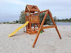 Дитячий майданчик Spielplatz Томас з подвійною гойдалкою, лазом, столик з лавками і канатної драбинкою, фото 3