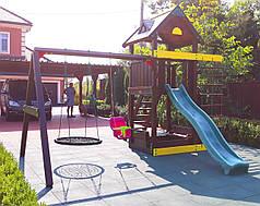 Дитячий майданчик Spielplatz Томас з гойдалкою-гніздом, канатної драбинкою та пісочницею-трансформер