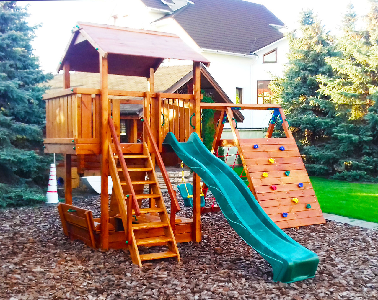 Дитячий майданчик Spielplatz Бруно з лазом, гойдалкою, лазом Есто та пісочницею-трансформер