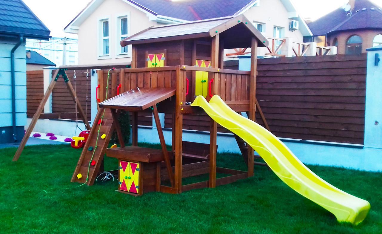 Детская площадка Spielplatz Витольд с двойной качелью, лазом, песочницей, прилавком