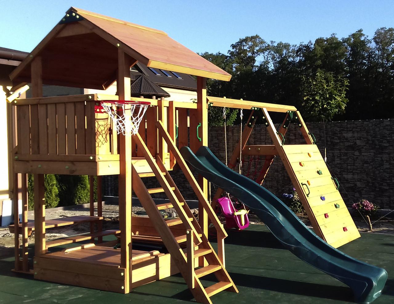 Детская площадка Spielplatz Бруно с качелью, лазом Эсто, столиком и песочницей-трансформер