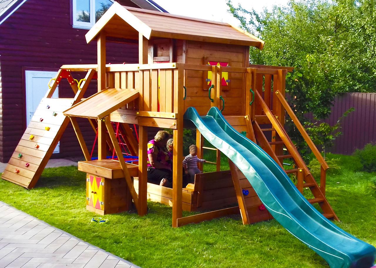 Детская площадка Spielplatz Витольд с рукоходом, лазом, лазом Эсто, прилавком и песочницей-трансформером