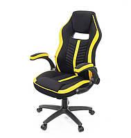 Кресло офисное на колесиках Брум PL TILT желтого цвета из ткани