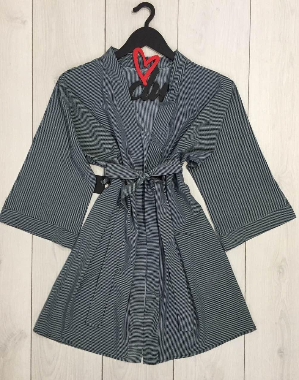 Легкий домашний халат на запах под пояс 085-мелкая полоска.