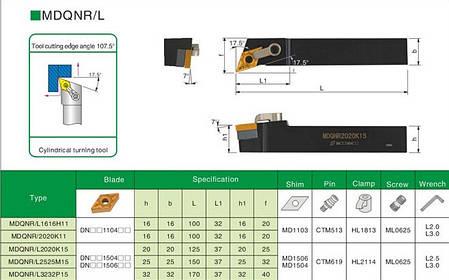 MDQNR2020K15 Резец (державка) токарный проходной, фото 2
