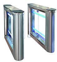 Турникет SWEEPER-1 (правая + левая стойки), шлифованная н/ж сталь AISI 304, столешницы - черное стекло, фото 1