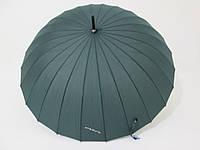 Зонт-трость на 24 спицы  механика однотонный зеленый