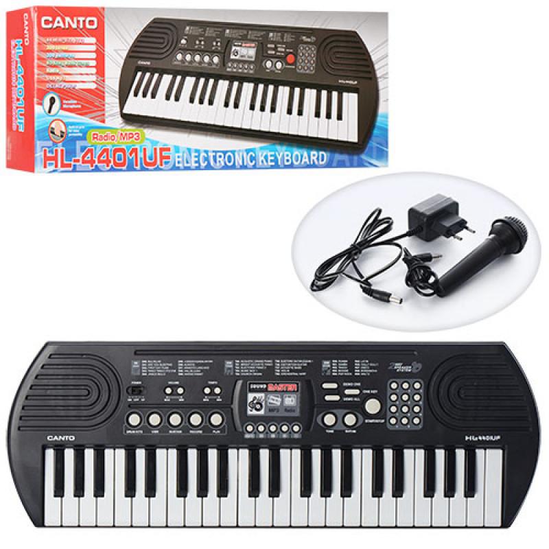 Синтезатор HL-4401UF, 44клавиш, микрофон, рег. гром, запись, USB вход, FM, от сети, в кор-ке, 67-23-7см