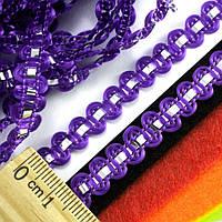 """(25 метров) Тесьма """"Стежок"""" (8мм ширина) с фольгированной лентой Цвет - Фиолетовый"""