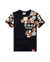 Серая арт футболка с иероглифами и цветами, фото 3