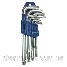 Набор ключей TORX с отверстием Г-образных 9ед.   СТАНДАРТ  TKS0901