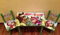 Детский столик и 2 стульчика для занятий и игр, Маша и Медведь, серия мультик, Украина