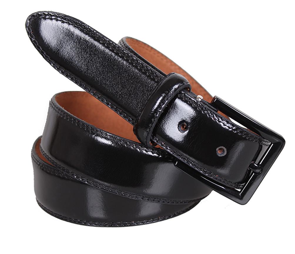 Мужской ремень из натуральной кожи под брюки MJ0007-1 черный