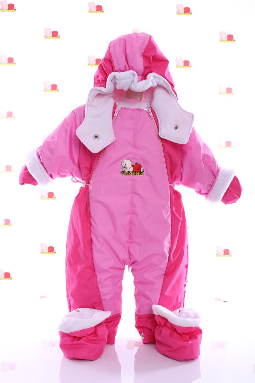 Детский демисезонный комбинезон трансформер (розовый с малиновым)