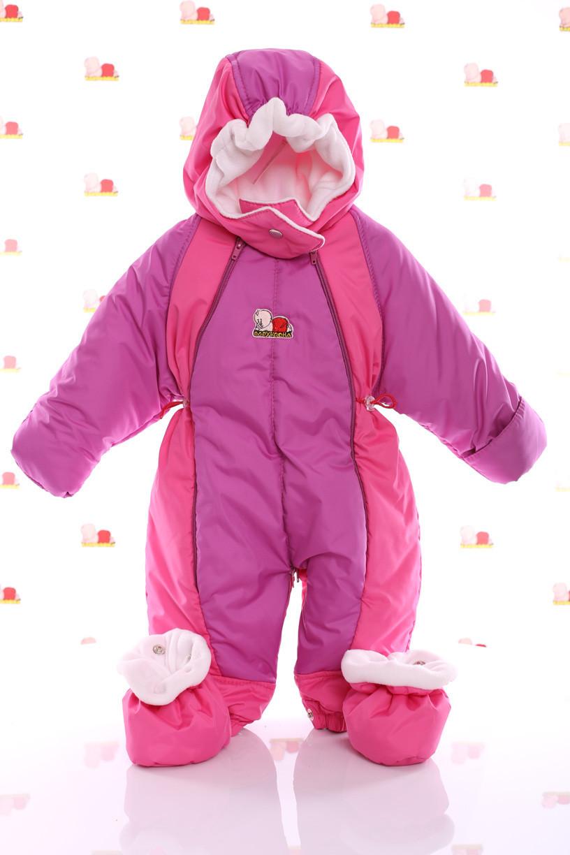 Детский демисезонный комбинезон трансформер (сиреневый с темно розовым) Конверт рождения и до 86 см