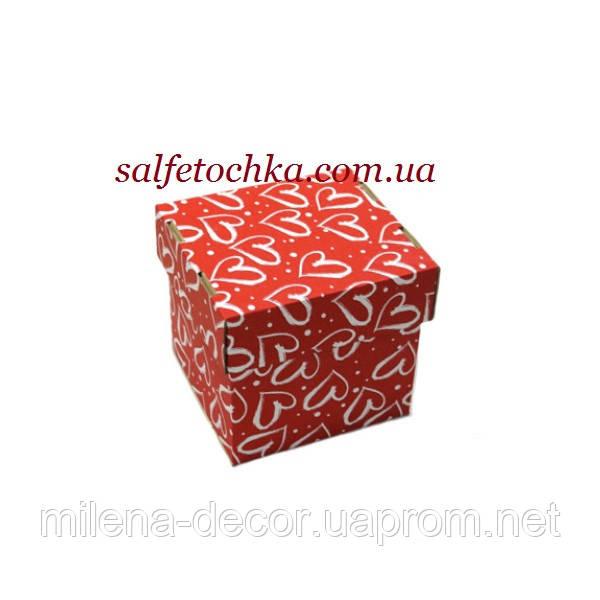 Картонная коробка 14*14*14 см. (красная с сердечками)
