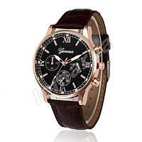 Чоловічі кварцові годинники Geneva Gold Black Brown Stripe V. 1