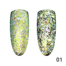 Втирка для ногтей, Хлопья Юки Global Fashion, серебро-золото