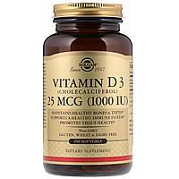 Витамин D3, 1000 IU, Solgar, 250 желатиновых капсул