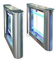 Турникет SWEEPER-2 (центральная стойка), шлифованная нержавеющая сталь AISI 304, столешницы - черное стекло, фото 1
