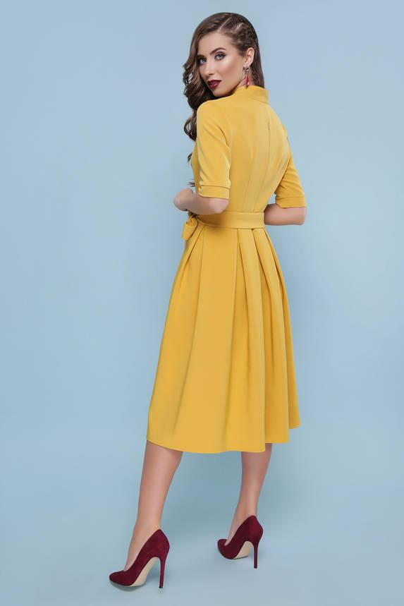 Нарядное желтое платье расклешенное с поясом, фото 2