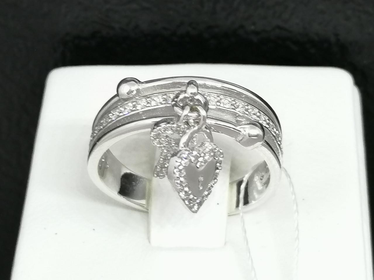 Серебряное кольцо с фианитами. Артикул КВ646(3)С 17,5