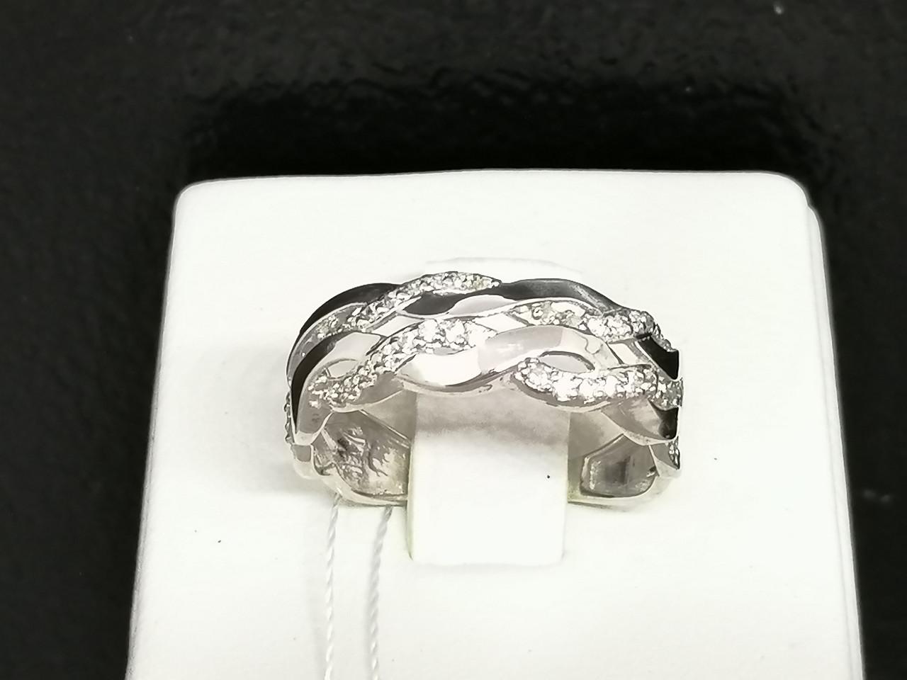 Срібне кільце з фіанітами. Артикул КВ370С 17,5