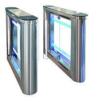 Турникет SWEEPER-2 (центральная стойка), шлифованная н/ж сталь AISI 304, столешницы - черное стекло+нерж сталь, фото 1