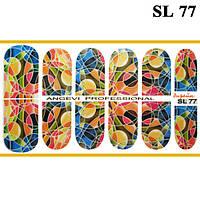 Наклейки для Ногтей Ноготки PhotonailArt Водные Angevi SL 77 Витражная Абстракция Разноцветная