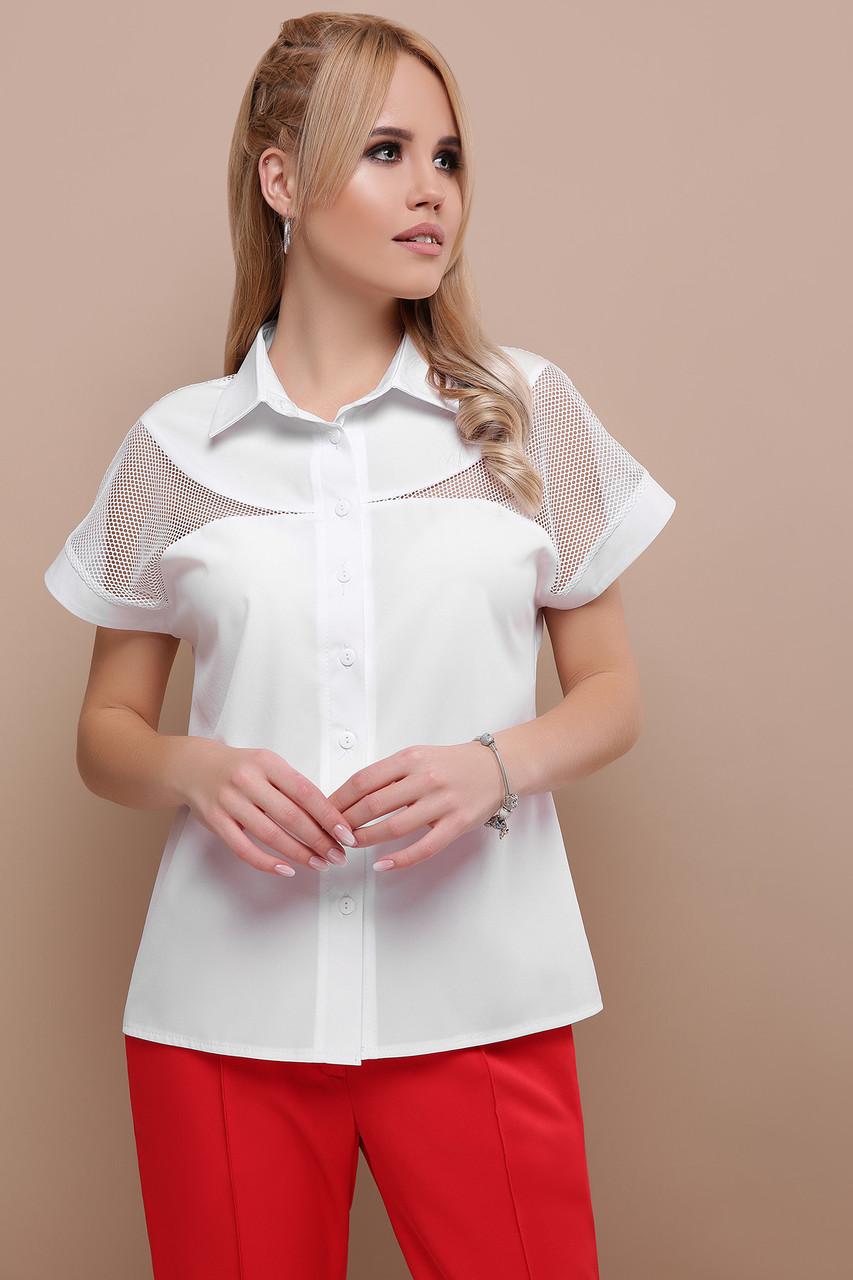 Женская блуза белая Сафо к/р  XL