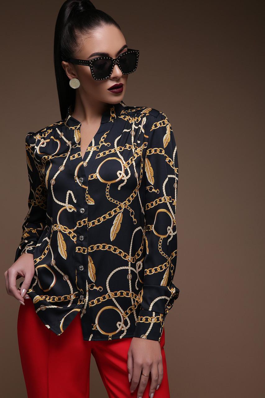 Женская черная блузка с принтом Перья-цепи Эльвира д/р