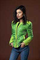 Женская молодежная демисезонная куртка. Код модели П-07-34-17. Цвет яркой зелени.