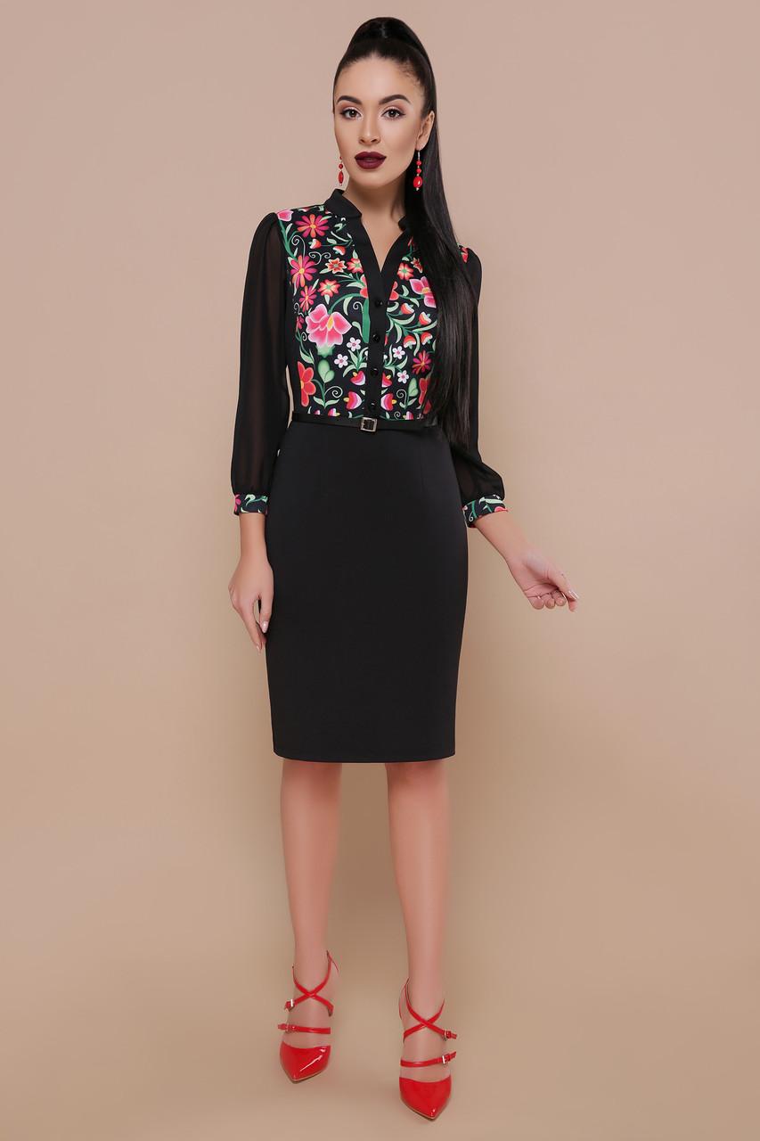Женское платье черное Ромашки Лилианна д/р