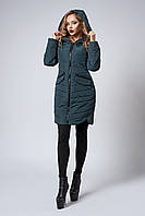 Женское демисезонное пальто. Код модели К-102-37-20. Цвет темно зеленый.