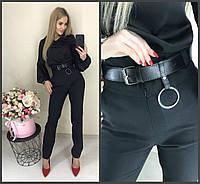 Модные женские брюки с высокой посадкой и поясом чёрные 42-44 44-46, фото 1