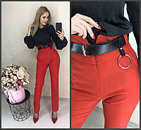 Модные женские брюки с высокой посадкой и поясом красные 42-44 44-46, фото 1
