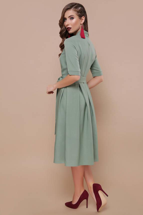 Нарядное платье с расклешенным низом и поясом фисташковое, фото 2